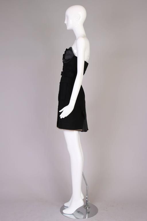 Antonio Berardi Black Strapless Belted Mini Dress For Sale 1
