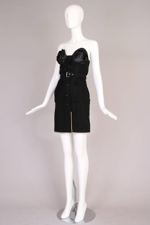 Antonio Berardi Black Strapless Belted Mini Dress In Excellent Condition For Sale In Los Angeles, CA