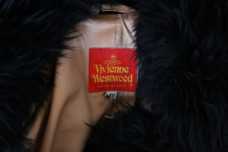 Vivienne Westwood Black Velvet Jacket With Oversized Faux Fur Trim For Sale 4