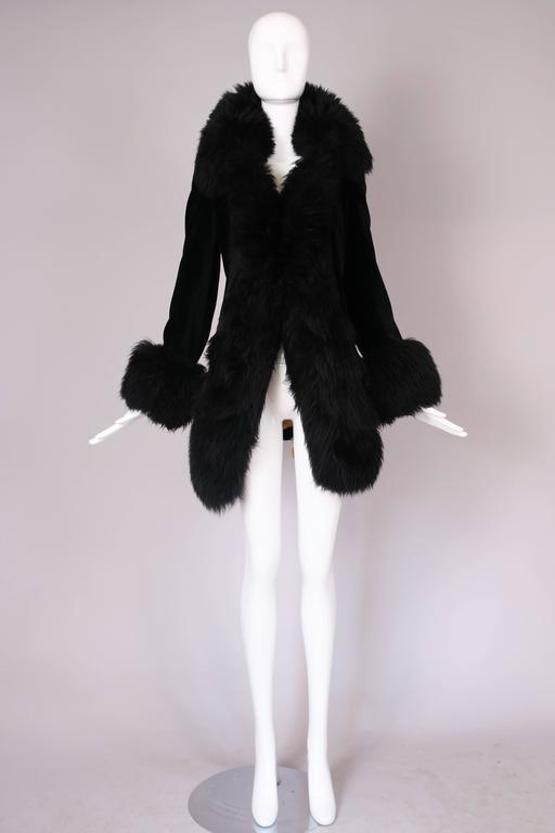 Vivienne Westwood Black Velvet Jacket With Oversized Faux Fur Trim In Excellent Condition For Sale In Los Angeles, CA
