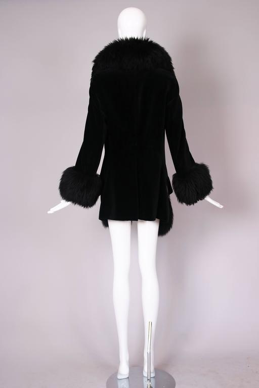 Vivienne Westwood Black Velvet Jacket With Oversized Faux Fur Trim For Sale 1