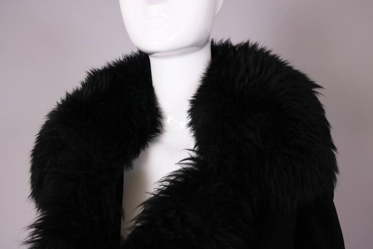 Vivienne Westwood Black Velvet Jacket With Oversized Faux Fur Trim For Sale 2
