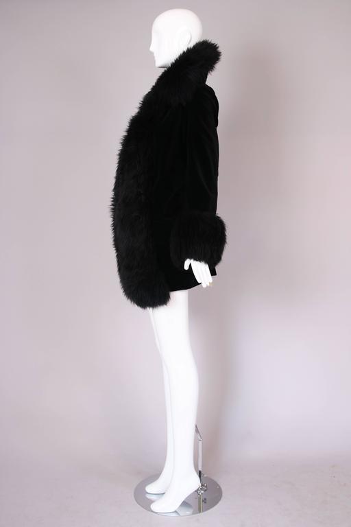 Women's or Men's Vivienne Westwood Black Velvet Jacket With Oversized Faux Fur Trim For Sale