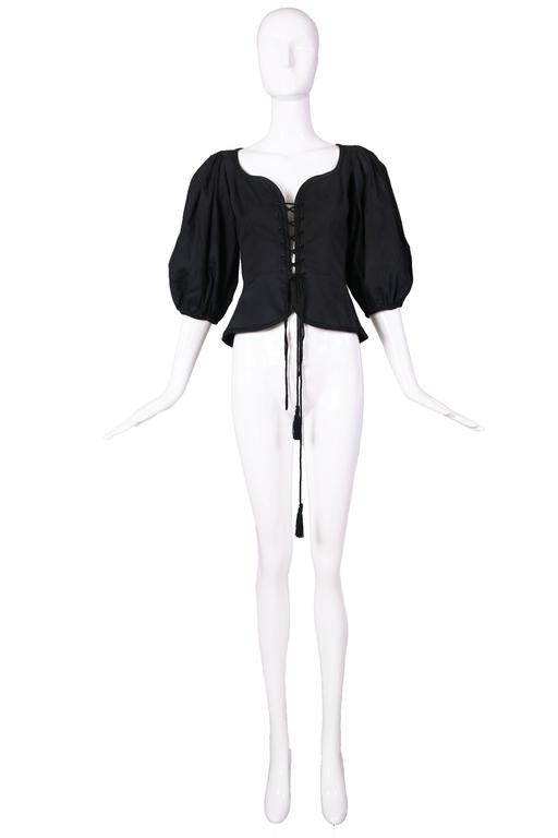 1970's Yves Saint Laurent Black Cotton Lace Up Peasant Top w/Balloon Sleeves 2