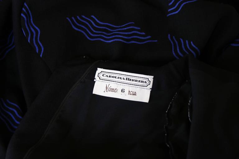 Vintage Carolina Herrera Black Day Dress w/Blue Abstract Print For Sale 4