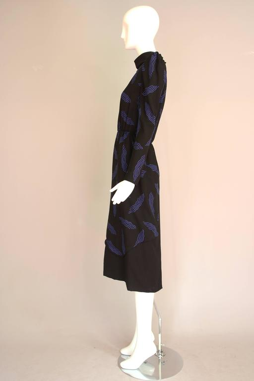 Women's Vintage Carolina Herrera Black Day Dress w/Blue Abstract Print For Sale