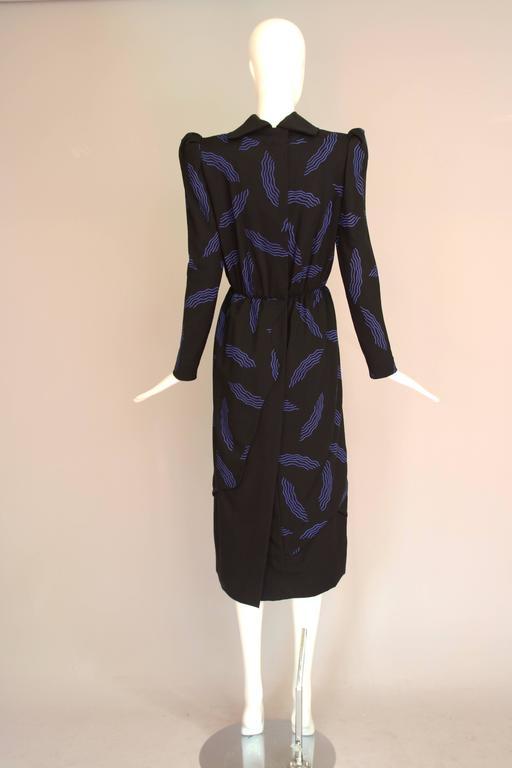 Vintage Carolina Herrera Black Day Dress w/Blue Abstract Print For Sale 1