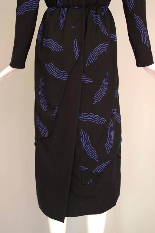 Vintage Carolina Herrera Black Day Dress w/Blue Abstract Print For Sale 2