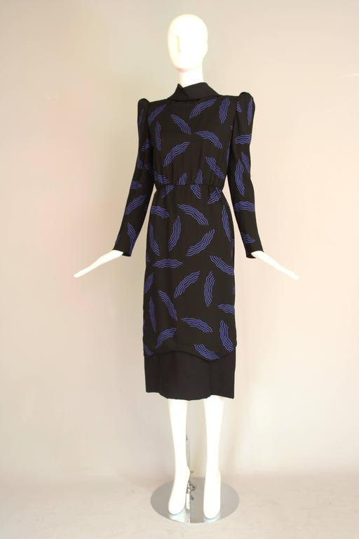 Vintage Carolina Herrera Black Day Dress w/Blue Abstract Print In Excellent Condition For Sale In Los Angeles, CA