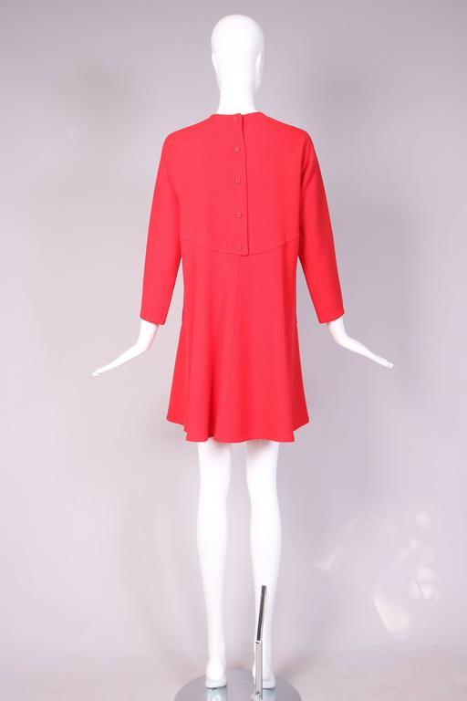 1990's Geoffrey Beene Red Wool Crepe Day Dress w/Signature Design Detail For Sale 1