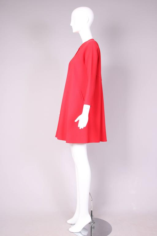 1990's Geoffrey Beene Red Wool Crepe Day Dress w/Signature Design Detail 4