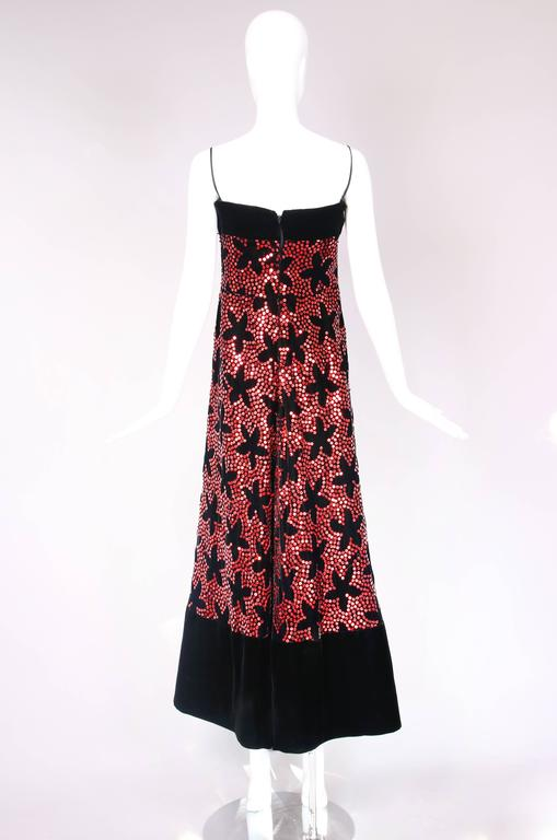 Vintage Arnold Scaasi Black Velvet Evening Gown w/Red Sequin Floral Pattern 4