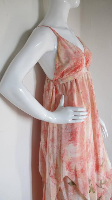 Vintage Chloe Hand Painted Silk Multi-Layered Gown w/Hand Written French Print For Sale 1