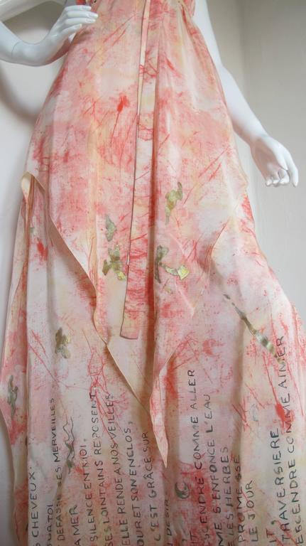 Vintage Chloe Hand Painted Silk Multi-Layered Gown w/Hand Written French Print In Excellent Condition For Sale In Los Angeles, CA