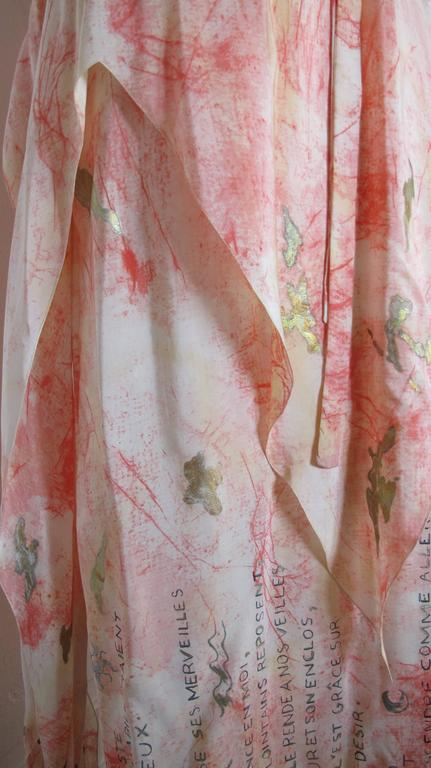 Vintage Chloe Hand Painted Silk Multi-Layered Gown w/Hand Written French Print For Sale 2