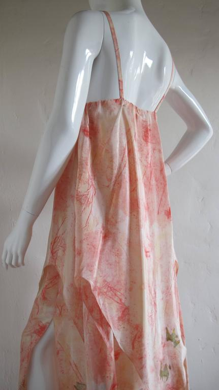 Women's Vintage Chloe Hand Painted Silk Multi-Layered Gown w/Hand Written French Print For Sale