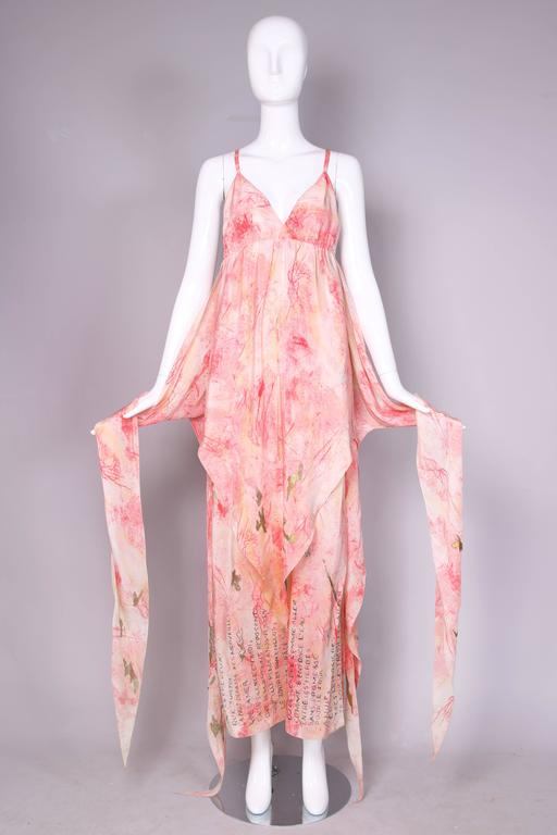 Pink Vintage Chloe Hand Painted Silk Multi-Layered Gown w/Hand Written French Print For Sale