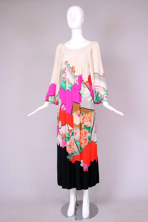 Hanae Mori Couture Silk Printed Maxi Dress W/Bell Sleeves & Smocked Neckline 3