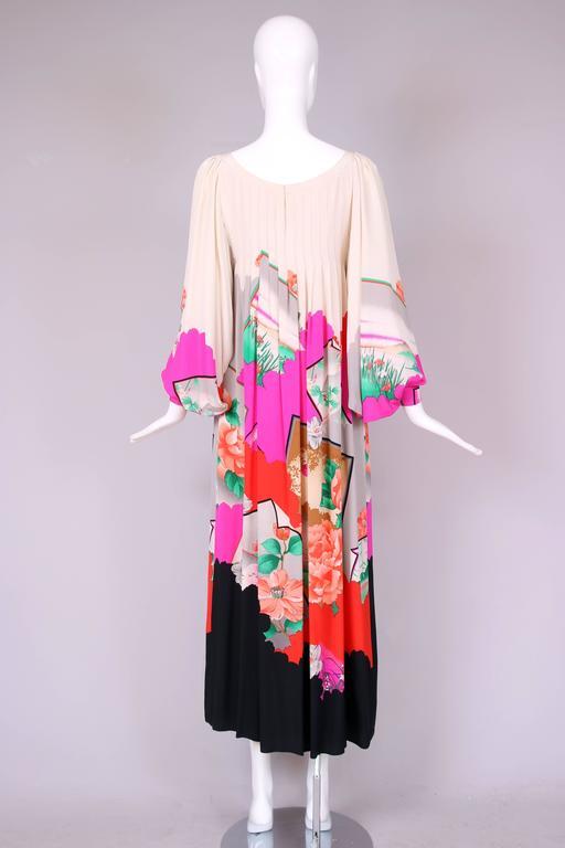 Hanae Mori Couture Silk Printed Maxi Dress W/Bell Sleeves & Smocked Neckline 4