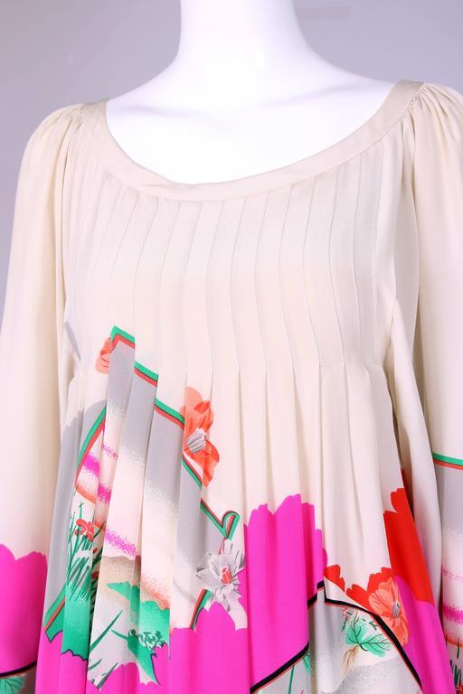 Hanae Mori Couture Silk Printed Maxi Dress W/Bell Sleeves & Smocked Neckline 6