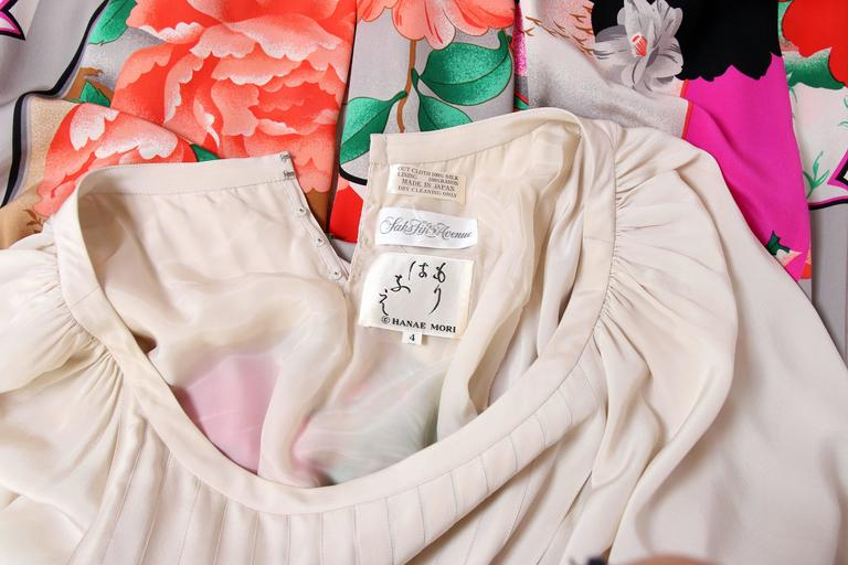 Hanae Mori Couture Silk Printed Maxi Dress W/Bell Sleeves & Smocked Neckline 9