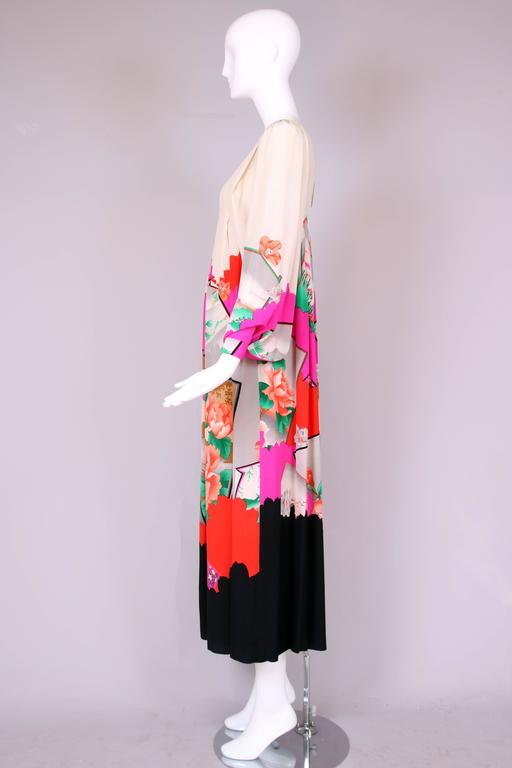 Hanae Mori Couture Silk Printed Maxi Dress W/Bell Sleeves & Smocked Neckline 5