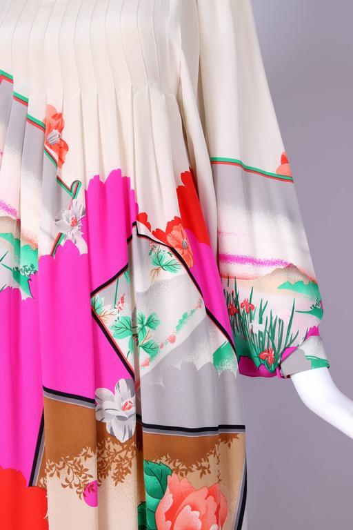 Hanae Mori Couture Silk Printed Maxi Dress W/Bell Sleeves & Smocked Neckline 7