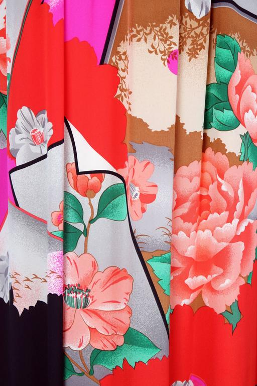 Hanae Mori Couture Silk Printed Maxi Dress W/Bell Sleeves & Smocked Neckline 8