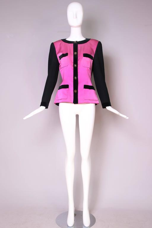 Purple 1987 A/H Chanel Pink Satin & Black Wool Boucle Jacket w/Velvet Trim For Sale