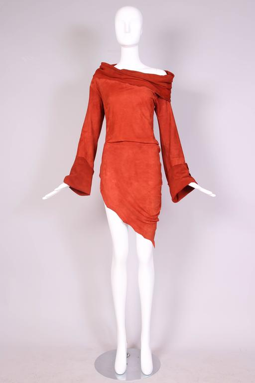 Red Vintage Jean Paul Gaultier Burnt Orange Suede Asymmetrical Tunic Dress For Sale
