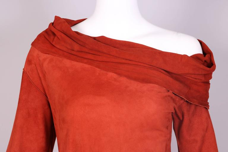 Women's Vintage Jean Paul Gaultier Burnt Orange Suede Asymmetrical Tunic Dress For Sale