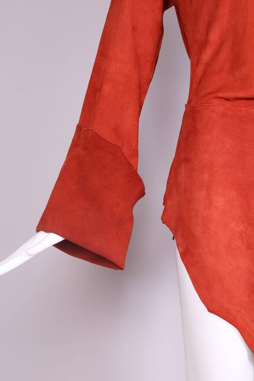 Vintage Jean Paul Gaultier Burnt Orange Suede Asymmetrical Tunic Dress For Sale 1