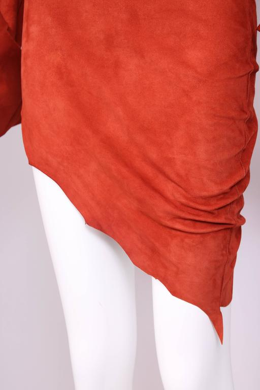 Vintage Jean Paul Gaultier Burnt Orange Suede Asymmetrical Tunic Dress For Sale 2