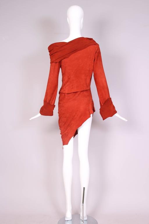 Vintage Jean Paul Gaultier Burnt Orange Suede Asymmetrical Tunic Dress In Excellent Condition For Sale In Los Angeles, CA