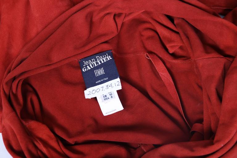 Vintage Jean Paul Gaultier Burnt Orange Suede Asymmetrical Tunic Dress For Sale 3