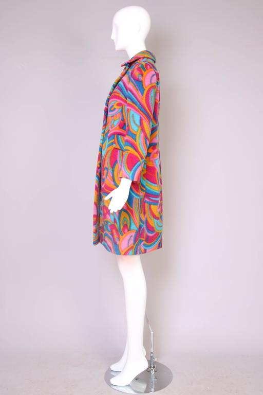 1960's Bill Blass Psychedelic Wool Double Breasted Coat 4
