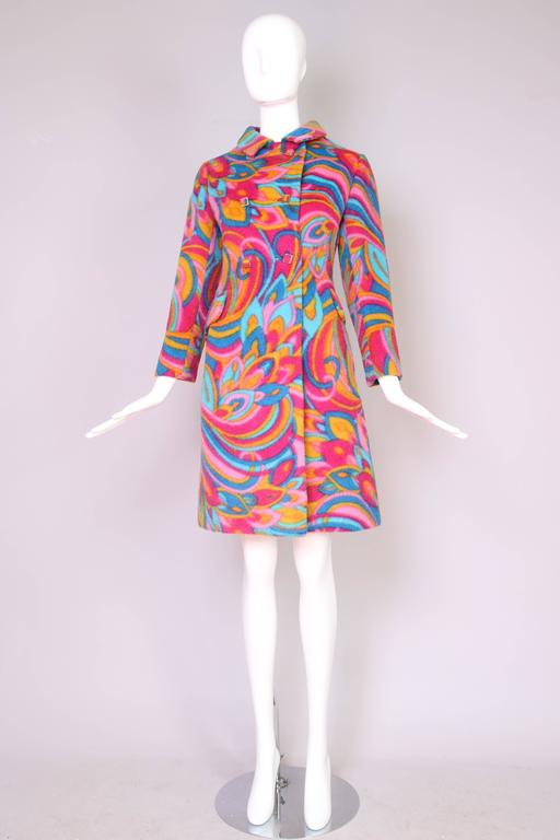 1960's Bill Blass Psychedelic Wool Double Breasted Coat 3