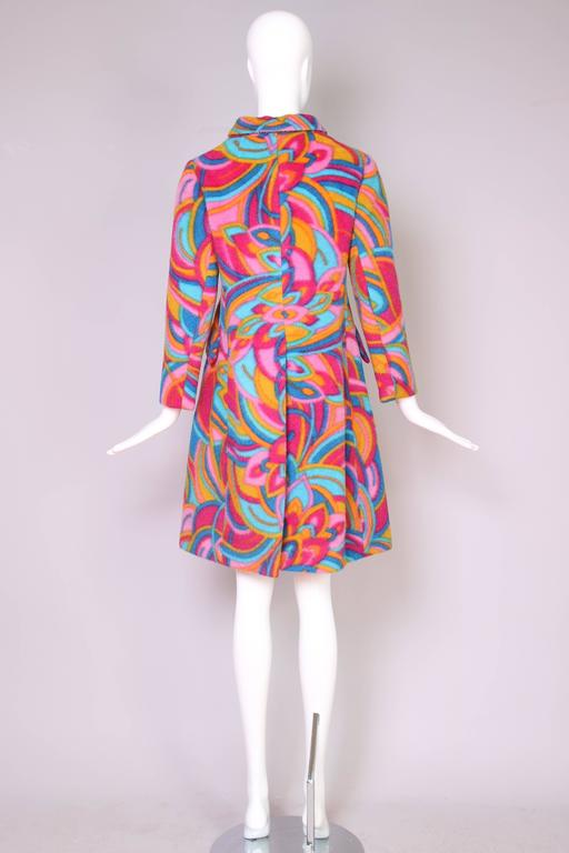 1960's Bill Blass Psychedelic Wool Double Breasted Coat 5