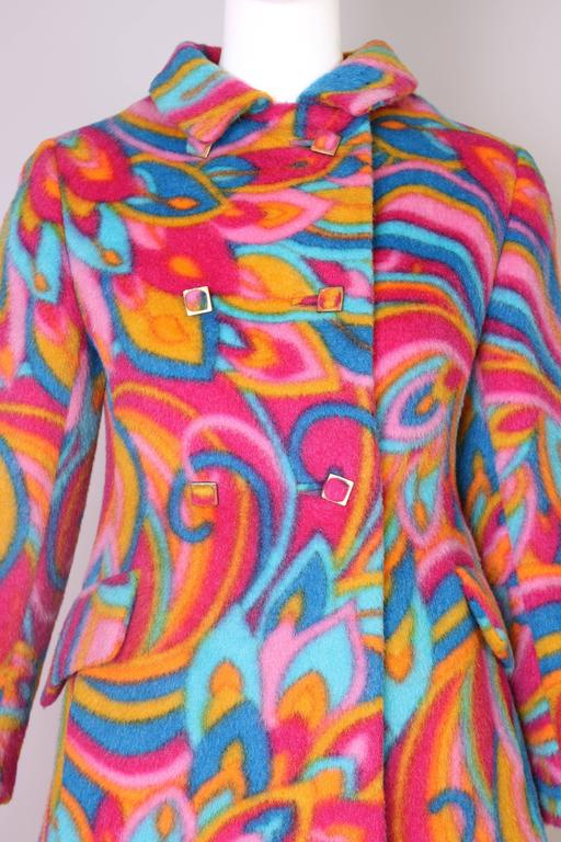 1960's Bill Blass Psychedelic Wool Double Breasted Coat 6