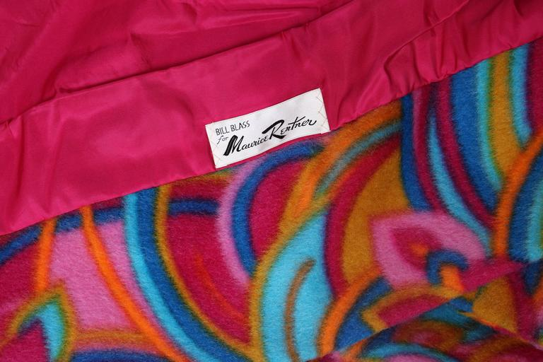 1960's Bill Blass Psychedelic Wool Double Breasted Coat 7