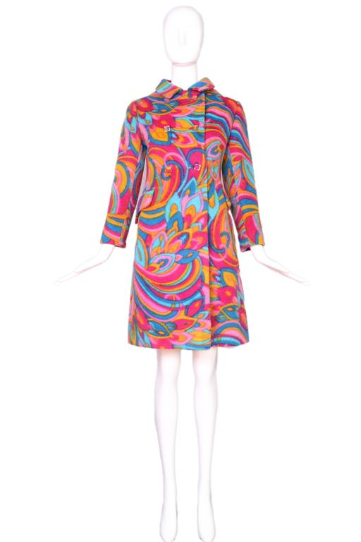 1960's Bill Blass Psychedelic Wool Double Breasted Coat 2