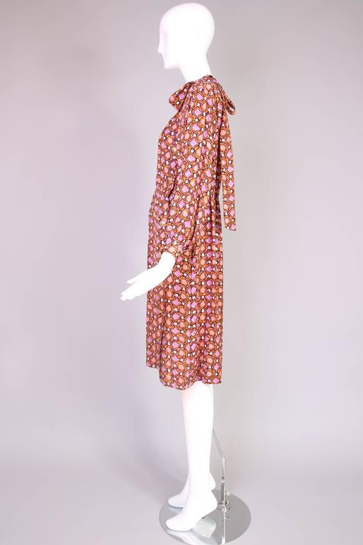 1984 Yves Saint Laurent YSL Silk Day Dress w/Geometric Print  In Excellent Condition For Sale In Los Angeles, CA