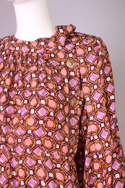 1984 Yves Saint Laurent YSL Silk Day Dress w/Geometric Print  5