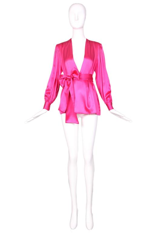 1970's Yves Saint Laurent YSL Hot Pink Silk Blouse W/Matching Sash 2
