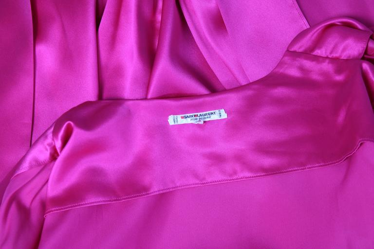 1970's Yves Saint Laurent YSL Hot Pink Silk Blouse W/Matching Sash 7