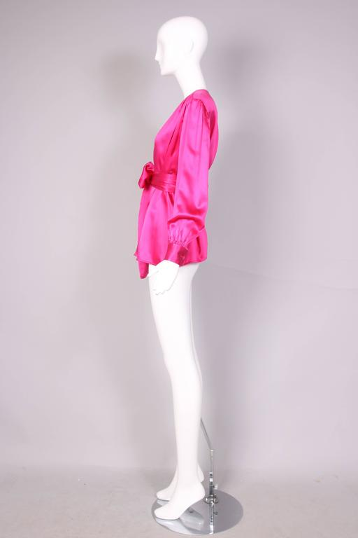 Women's 1970's Yves Saint Laurent YSL Hot Pink Silk Blouse W/Matching Sash For Sale
