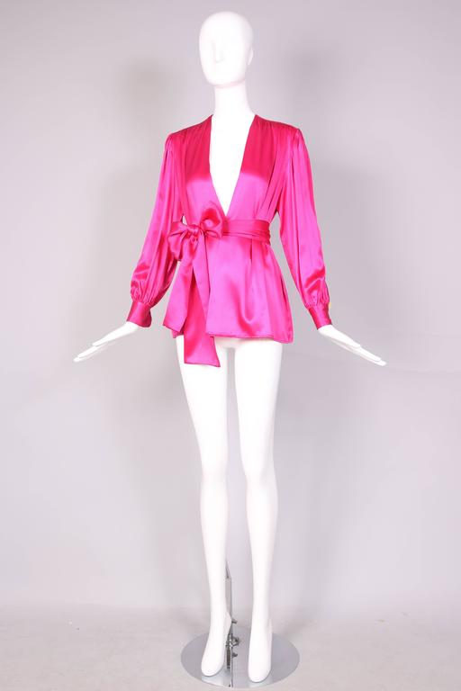 1970's Yves Saint Laurent YSL Hot Pink Silk Blouse W/Matching Sash In Excellent Condition For Sale In Los Angeles, CA