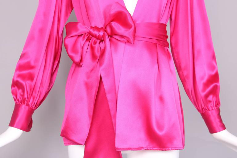 1970's Yves Saint Laurent YSL Hot Pink Silk Blouse W/Matching Sash For Sale 2
