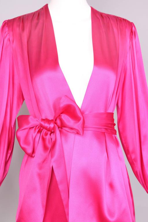 1970's Yves Saint Laurent YSL Hot Pink Silk Blouse W/Matching Sash For Sale 1