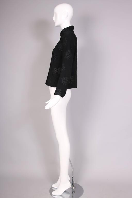 Women's 2003 Chanel Black Wool Boucle Jacket w/Camellia Print For Sale